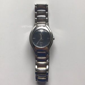 Fossil Silver Watch with Light Blue Face
